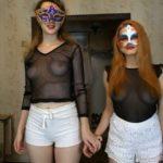 Carolina and Alice Dirty White Shorts with ModelNatalya94 [FullHD / 2020]