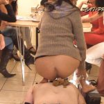 Toilet Slave rolling under the Table Part 4 Britany